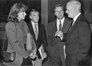 Barbara Anderson of Citizens Limited Taxation.Barbara Anderson of Clt talks with state Representatives Frank Emilto, D_Haverhill and Rep. Tom palumbo,R_Newbury and mayor William F. Ryan R_Haverhill, outside the house chambers in the state caption.10/1/1985